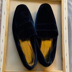 ZARA velvet blue loafers